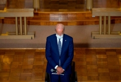 Then-Democratic presidential candidate Joe Biden prays in a Kenosha, Wisc. Church in September 2020. (Photo by Jim WatsonAFP via Getty Images)
