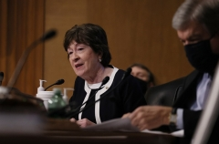 Sen. Susan Collins (R-Maine) questions Avril Haines during her confirmation hearing before the Senate Intelligence Committee to be Director of National Intelligence on January 19, 2021.(Photo by JOE RAEDLE/POOL/AFP via Getty Images)