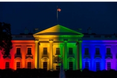 The White House, then occupied by President Barack Obama, was blanketed in rainbow colors symbolizing LGBT pride on June 26, 2015. (Photo by Molly Riley/AFP via Getty Images)