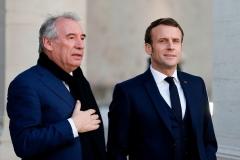 French President Emmanuel Macron with Francois Bayrou, a close ally. (Photo by Regis Duvignau/Pool/AFP via Getty Images)