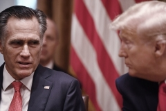 Sen. Mitt Romney (R-Utah) appears with then-President Donald Trump with whom he had a chilly relationship. (Photo by BRENDAN SMIALOWSKI/AFP via Getty Images)