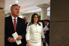 House Minority Leader Kevin McCarthy and Rep. Elise Stefanik emerge from the May 14, 2021 meeting where Stefanik was elected chair of the House Republican Conference. (Photo by Anna Moneymaker/Getty Images)