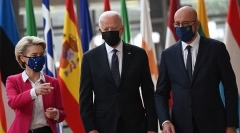 President Biden with European Commission President Ursula von der Leyen and European Council President Charles Michel, in Brussels on Tuesday. (Photo by Brendan Smialowski/AFP via Getty Images)
