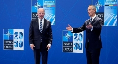 President Joe Biden is greeted by NATO Secretary General Jens Stoltenberg at the NATO summit in Brussels on June 14, 2021. (Photo by FRANCOIS MORI/POOL/AFP via Getty Images)