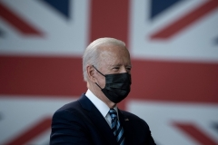 President Biden prepares to address U.S. Air Force personnel and their families stationed at RAF Mildenhall upon arrival in England on Wednesday evening. (Photo by Brendan Smialowski/AFP via Getty Images)