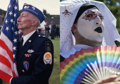 Featured are a D-Day veteran and LGBT protester. (Photo credit: Peter Turnley/Corbis/VCG via Getty Images and ANDREW CABALLERO/REYNOLDS/AFP via Getty Images)