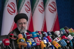 Iranian President-Elect Ebrahim Raisi holds a press conference at Shahid Beheshti conference hall on June 21, 2021 in Tehran, Iran. (Photo credit: Majid Saeedi/Getty Images)
