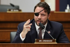 """Representative Dan Crenshaw questions witnesses during a House Homeland Security Committee hearing about """"Worldwide threats to the Homeland"""" on Capitol Hill on September 17, 2020 in Washington, DC. (Photo by CHIP SOMODEVILLA/POOL/AFP via Getty Images)"""