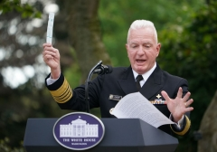 Admiral Brett Giroir, MD, Assistant Secretary For Health, United States Department of Health and Human Services holds up a testing swab as he speaks on Covid-19 testing in the Rose Garden of the White House in Washington, DC on September 28, 2020. (Photo by MANDEL NGAN/AFP via Getty Images)