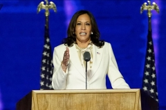 Vice President-elect Kamala Harris delivers remarks in Wilmington, Delaware, on November 7, 2020, after being declared the winners of the presidential election. (Photo by ANDREW HARNIK/POOL/AFP via Getty Images)