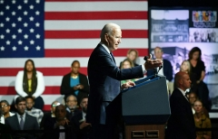 US President Joe Biden speaks during a commemoration of the 100th anniversary of the Tulsa Race Massacre at the Greenwood Cultural Center in Tulsa, Oklahoma, on June 1, 2021. (Photo by MANDEL NGAN/AFP via Getty Images)