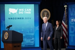 US President Joe Biden, with Vice President Kamala Harris, arrives to speak on Covid-19 response and vaccinations in the South Court Auditorium of the Eisenhower Executive Office Building, next to the White House, in Washington, DC, on June 2, 2021. (Photo by MANDEL NGAN/AFP via Getty Images)