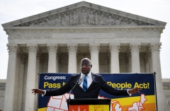 Senator Reverend Raphael Warnock (D-GA) speaks at a rally in front of the US Supreme Court to call on the Senate to pass the For the People Act, on June 9, 2021, in Washington DC. (Photo by OLIVIER DOULIERY/AFP via Getty Images)