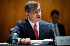 """Secretary of Health and Human Services (HHS) Xavier Becerra testifies before a Senate Appropriations Subcommittee hearing titled """"The President's Fiscal Year 2022 Budget Request for the US Department of HHS,"""" in Washington, DC, on June 9, 2021. (Photo by AL DRAGO/AFP via Getty Images)"""