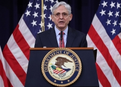 US Attorney General Merrick Garland speaks during an event at the Justice Department on June 15, 2021 in Washington, DC. - Garland addressed domestic terrorism during his remarks. (Photo by WIN MCNAMEE/POOL/AFP via Getty Images)