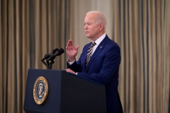 President Joe Biden speaks about the Covid-19 response and the vaccination program in the State Dining Room of the White House in Washington, DC, on June 18, 2021. (Photo by JIM WATSON/AFP via Getty Images)