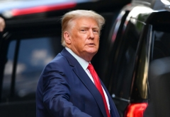 Former U.S. President Donald Trump leaves Trump Tower in Manhattan on May 18, 2021 in New York City. (Photo by James Devaney/GC Images)