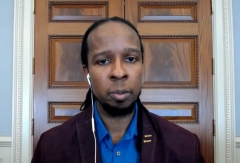 Ibram X. Kendi, director of Boston University's Center for Antiracist Research, gives a virtual TED Talk. (Photo credit: TED/YouTube)