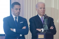 Joe Biden stands with son Hunter Biden. (Photo credit: Kris Connor/WireImage)