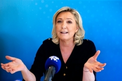 National Rally leader Marine Le Pen campaigns ahead of Sunday's first round election. (Photo by Chesnot/Getty Images)