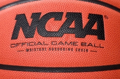 Featured is the NCAA logo on a basketball. (Photo credit: G Fiume/Maryland Terrapins/Getty Images)