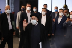 Iranian judiciary chief Ebrahim Raisi, front, arrives at the Interior Ministry to submit his candidacy for the June 18 election. He is the frontrunner in a group of seven men, all hardliners, permitted to run to succeed President Hassan Rouhani. (Photo by Majid Saeedi/Getty Images)