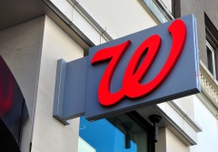 A sign marks the entrance to a Walgreens store in San Francisco's upscale Union Square shopping district. (Photo credit: Robert Alexander/Getty Images)