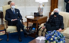 President Joe Biden meets with Treasury Secretary Janet Yellen at the White House in February 2021. (Photo by SAUL LOEB/AFP via Getty Images)