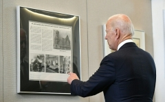 President Joe Biden tours the Greenwood Cultural Center in Tulsa, Oklahoma on June 1, 2021. (Photo by MANDEL NGAN/AFP via Getty Images)