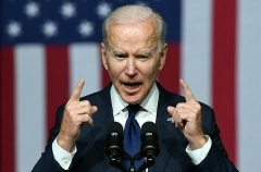 Joe Biden, a read from the teleprompter president, generally avoids full-fledged news conferences. (Photo by MANDEL NGAN/AFP via Getty Images)