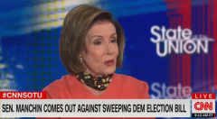 House Speaker Nancy Pelosi (D-Calif.) smiled broadly on Sunday as she announces she hasn't given up on Sen. Joe Manchin, a fellow Democrat who opposes voting legislation Democrats are so eager to pass. (Photo: Screen capture)