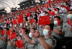Celebrations ahead the 100th anniversary of the founding of the CCP, at the Beijing national stadium on Monday. (Photo by Noel Celis/AFP via Getty Images)