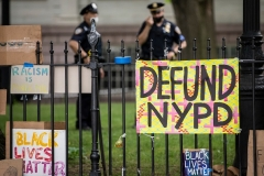 Protest signs in City Hall Park in Manhattan as seen on June 30, 2020. (Photo by Ira L. Black/Corbis via Getty Images)