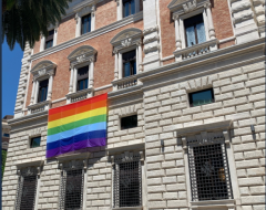 LGBT-Rainbow flag draped on the U.S. Embassy to the Holy See, Rome, Italy, June 1, 2021.  (Twitter)