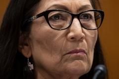 Interior Secretary Debra Haaland testifies before a Senate Appropriations subcommittee on June 16, 2021. (Photo by JIM WATSON/AFP via Getty Images)