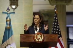 Vice President Kamala Harris takes part in a press conference with the Guatemalan president on June 7, 2021 in Guatemala City. (Photo by Josue Decavele/Getty Images)