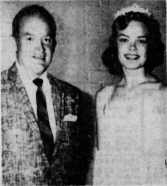 New York State Fair Queen Lynette Estes with Bob Hope at the state fair, Sept. 4, 1958.