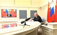 Russian President Vladimir Putin holds a virtual summit with Chinese President Xi Jinping on Monday. (Photo: The Kremlin)