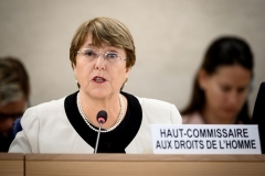 U.N. High Commissioner for Human Rights Michelle Bachelet addresses a previous session of the Human Rights Council in Geneva. (Photo by Fabrice Coffrini/AFP via Getty Images)