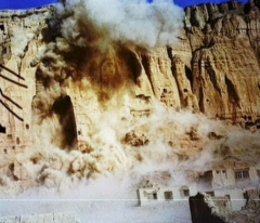The 175-feet-high Buddhas, carved into sandstone cliffs at Bamiyan, Afghanistan, were destroyed by the Taliban on March 12, 2001. (Photo by CNN via Getty Images)