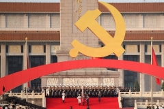 A giant hammer and sickle adorn the Chinese Communist Party centenary festivities at Tiananmen Square in Beijing last Thursday. (Photo by Wang Zhao/AFP via Getty Images)