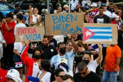 Protesters demonstrate in Miami on Sunday in support of the people of Cuba. (Photo by Eva Marie Uzcategui/AFP via Getty Images)