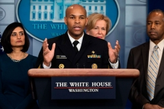US Surgeon General Jerome Adams speaks during a press briefing about the Coronavirus (COVID-19) in the Brady Press Briefing Room at the White House in Washington, DC, March 14, 2020. (Photo by JIM WATSON/AFP via Getty Images)