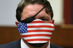 """Representative Dan Crenshaw attends a House Homeland Security Committee hearing about """"Worldwide threats to the Homeland"""" on Capitol Hill on September 17, 2020 in Washington, DC. (Photo by CHIP SOMODEVILLA/POOL/AFP via Getty Images)"""