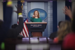 White House Press Secretary Jen Psaki answers questions as she speaks during the daily press briefing on March 15, 2021, in the Brady Briefing Room of the White House in Washington, DC. (Photo by ERIC BARADAT/AFP via Getty Images)