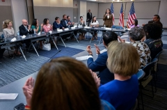 Vice President Kamala Harris (C-R) meets with Democratic members of the Texas State Legislature at the American Federation of Teachers building near the US Capitol in Washington, DC, July 13, 2021. (Photo by ANDREW CABALLERO-REYNOLDS/AFP via Getty Images)