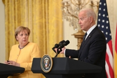 President Joe Biden and German Chancellor Angela Merkel hold a joint press conference in the East Room of the White House in Washington, DC, July 15, 2021. (Photo by SAUL LOEB/AFP via Getty Images)