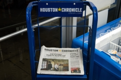 This photo taken on Feb. 12, 2019 shows the front page of the Houston Chronicle featuring a story on accusations of abuse in Southern Baptist churches at a gas station in Houston, Tex. (Photo credit: LOREN ELLIOTT/AFP via Getty Images)