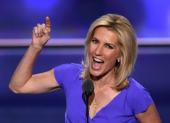Conservative host Laura Ingraham gives a speech. (Photo credit: TIMOTHY A. CLARY/AFP via Getty Images)