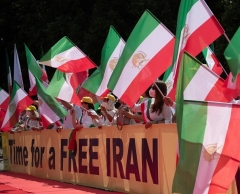 National Council of Resistance of Iran supporters rally in Berlin, Germany on Saturday, during the online Free Iran summit.  (Photo by Paul Zinken/AFP via Getty Images)